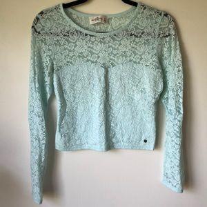 Abercrombie mint blue crop lace top
